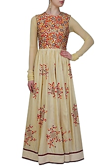 Beige and red mosaic embroidered floor length dress by Shasha Gaba