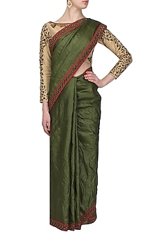 Olive green floral embroidered saree with beige blouse by Shasha Gaba