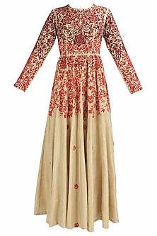 Biege and red floral thread and beads embroidered dress by Shasha Gaba