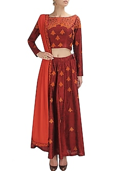 Red floral thread and gold beads embroidered lehenga set by Shasha Gaba