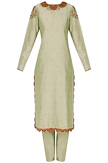 Mint Green Mosiac Embroidered Kurta Set by Shasha Gaba