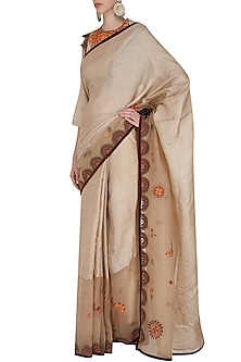 Beige Mosiac Saree with Embroidered Blouse by Shasha Gaba