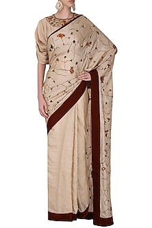 Beige Floral Embroidered Saree with Gathered Sleeves Blouse by Shasha Gaba