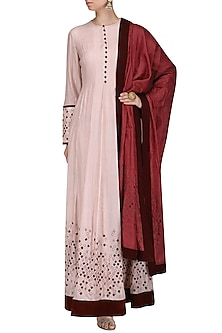 Pink Rhombus Embroidered Anarkali with Dupatta by Shasha Gaba