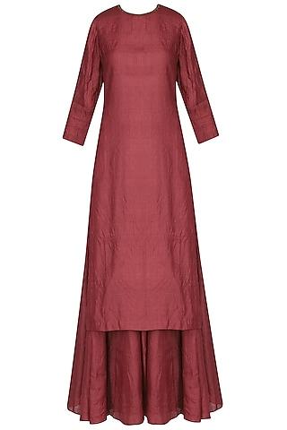 Red Rhombus Embroidered Kurta with Lehenga Skirt Set by Shasha Gaba