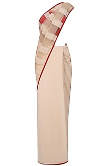 Nude And Red Valentine Saree With Embroidered Blouse by Shasha Gaba