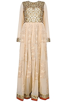 Nude French Knot Embroidered Anarkali by Shasha Gaba