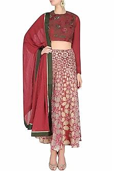 """Red And Nude """"Gopi Bandhani"""" Embroidered Lehenga Set by Shasha Gaba"""