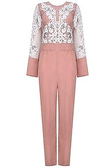 Rose Pink Floral Applique Work Jumpsuit by Shasha Gaba