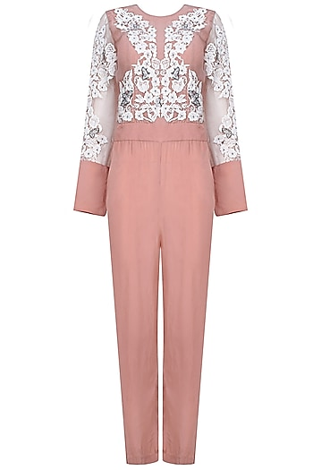 Rose Pink Floral Applique Work Jumpsuit by Shasha Gaba