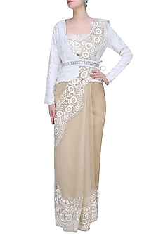 Nude And Ecru Floral Embroidered Saree With Jacket Style Blouse by Shasha Gaba