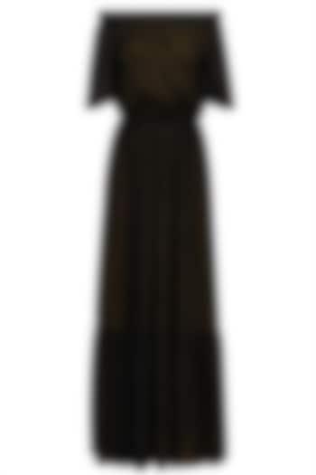 Black Robbie Off Shoulder Midi Dress by Shift by Nimish Shah