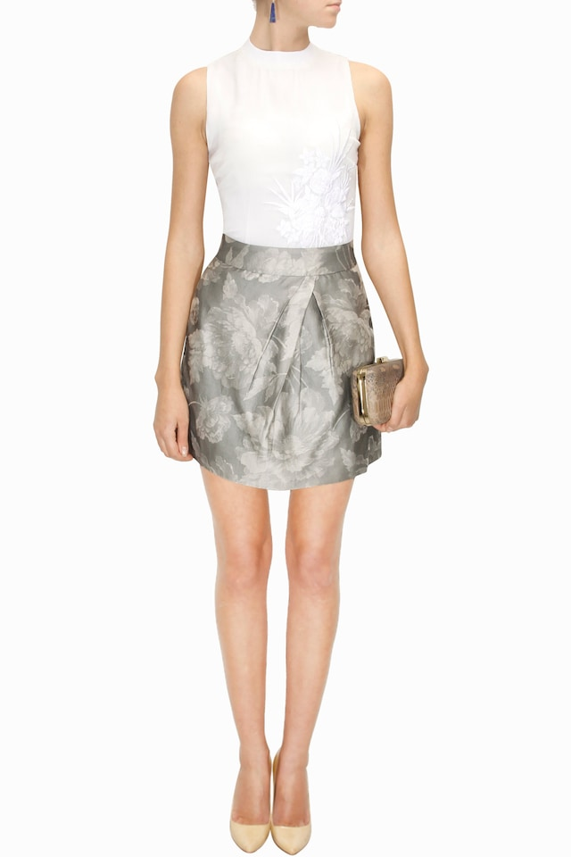 Grey floral mini skirt by Shift by Nimish