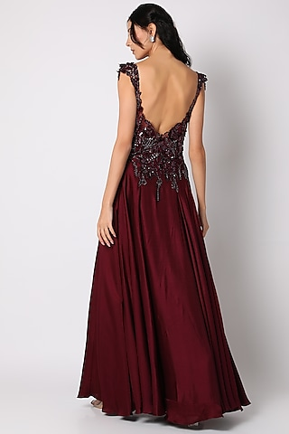 Burgundy Satin Silk Gown by Shlok Design
