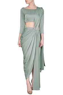 Sage Green Pre Draped Saree With Embroidered Blouse by Sheena Singh