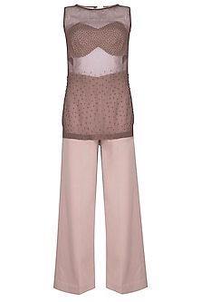 Purple Embroidered Bustier With Sheer Top & Pants by Sheena Singh