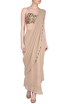 Beige Embroidered Drape Saree Set by Sheena Singh