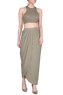 Mint Embroidered Crop Top With Draped Skirt by Sheena Singh