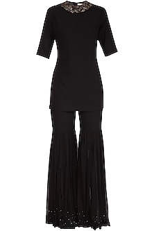 Black Embroidered Top With Palazzo Pants by Sheena Singh