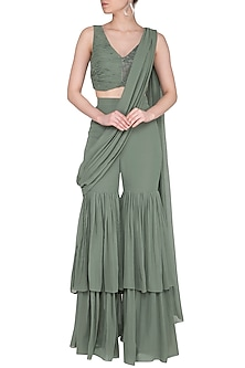 Green Embroidery Pant Saree Set by Sheena Singh