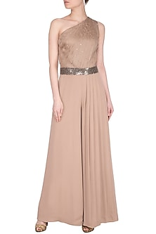 Beige Embroidered Jumpsuit With Attached Dupatta by Sheena Singh