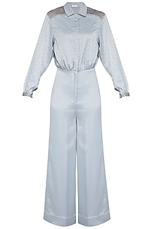 Blue Embroidered Full SLeeves Jumpsuit by Sheena Singh