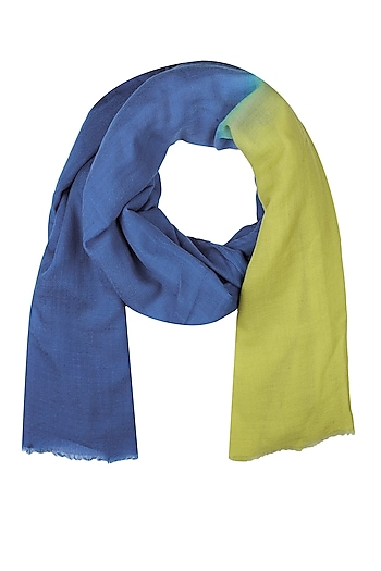 Blue and yellow dip dyed stole by Shingora