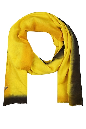 Yellow and black dip dyed stole by Shingora