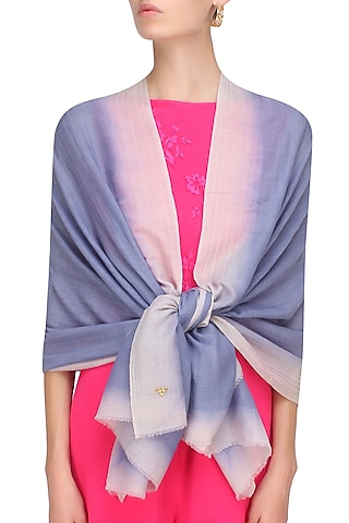 White and sky blue dip dyed stole by Shingora
