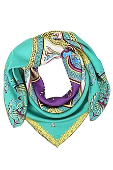 Green digital printed scarf by Shingora