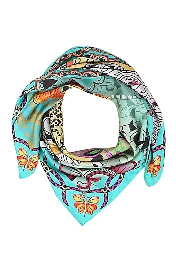 Turquoise paisley printed scarf by Shingora