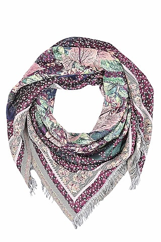 Purple floral printed jacquard Stole by Shingora