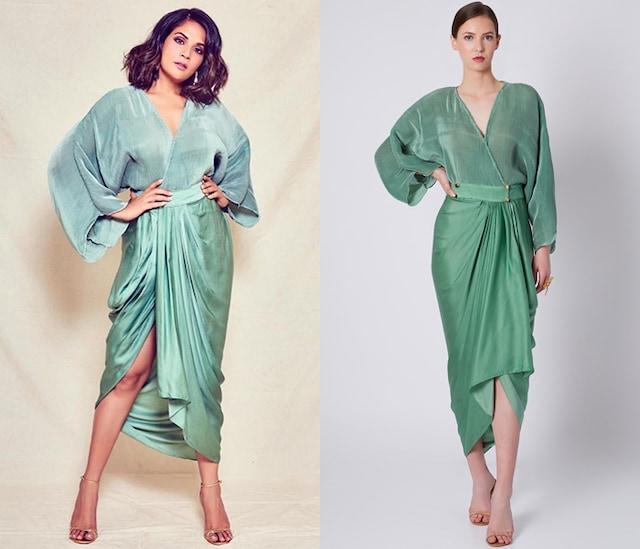 Olive Green Pleated Dhoti Dress by Shivangi Jain