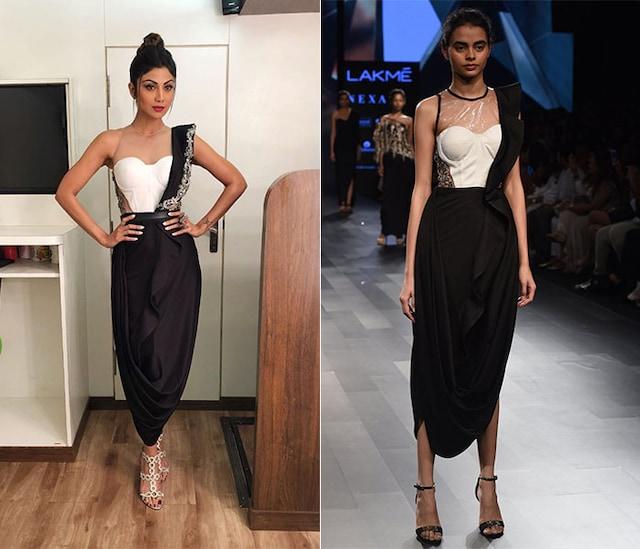 Black Ruffled Drape Gown by Sonaakshi Raaj