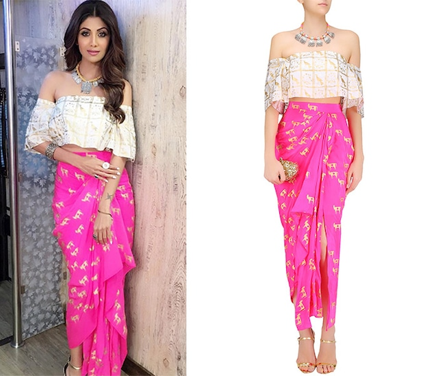 Off White Moor Printed Off Shoulder Top with Hot Pink Drape Skirt by Masaba