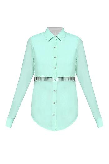 Mint Green Metallic Tassels Button Down Layered Shirt by 431-88 By Shweta Kapur