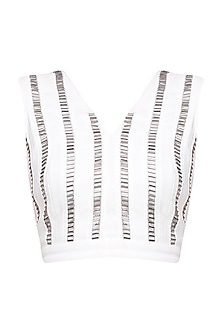 White and Silver Heavy Embroidered Top by 431-88 By Shweta Kapur