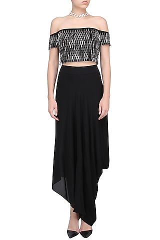 Black Tassel Off Shoulder Top by 431-88 By Shweta Kapur