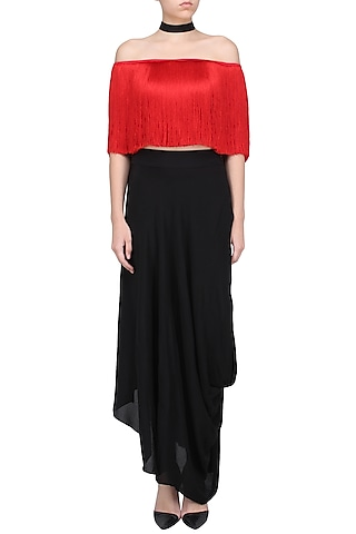 Red Off Shoulder Fringe Top by 431-88 By Shweta Kapur