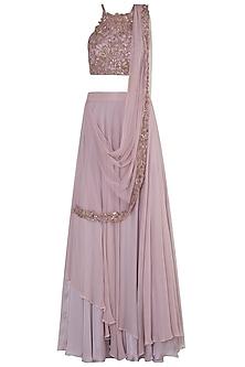 Lilac Embellished Lehenga Set by Shloka Khialani