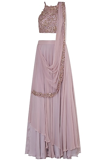 Lilac Embellished Lehenga Set by Shloka Khialani