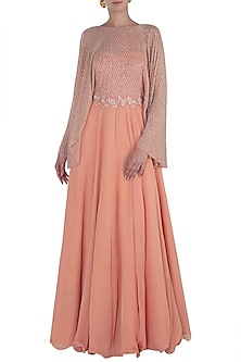 Peach Embroidered Anarkali Gown by Shloka Khialani