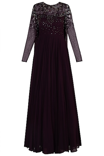 Burgundy Embellished Anarkali Gown by Shloka Khialani