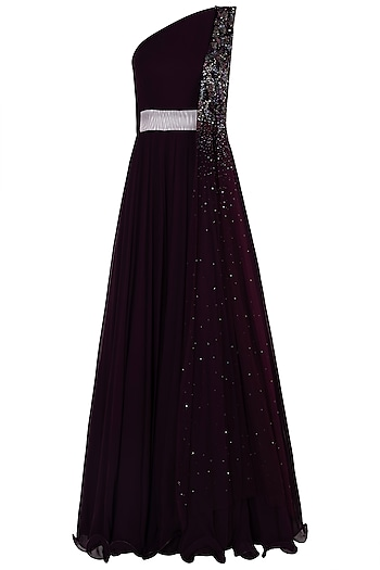 Burgundy One Shoulder Embellished Anarkali Gown by Shloka Khialani