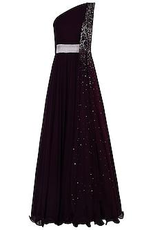 Burgundy One Shoulder Embellished Anarkali Gown by Shloka Khialani