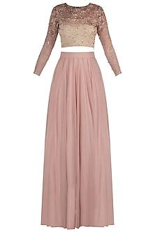 Rose Gold Embellished Blouse with Pink Lehenga Skirt by Shloka Khialani