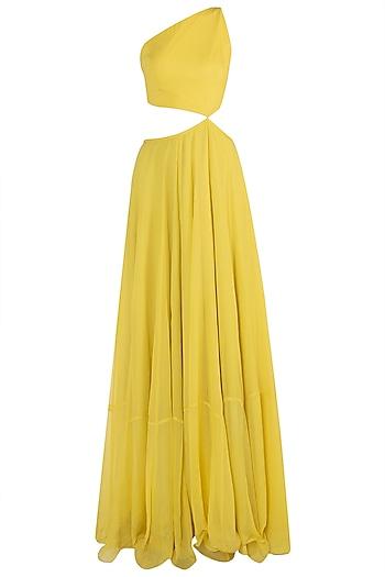 Yellow Cut Out Anarkali with Lime Embellished Dupatta by Shloka Khialani