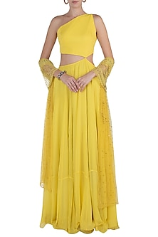 Yellow Cut Out Anarkali with Lime Embellished Dupatta by Shloka Khialani