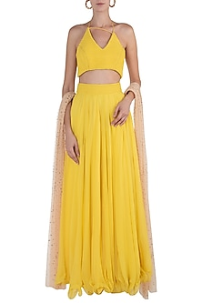 Yellow and Peach Embellished Lehenga Set by Shloka Khialani