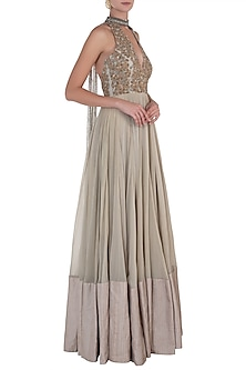 Sage Green Embellished Anarkali Gown by Shloka Khialani